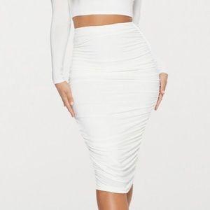 Dresses & Skirts - White ruched midi skirt